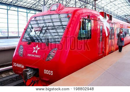 MOSCOW RUSSIA - MAY 08 2015: The popular aeroexpress train connects airport with central Moscow on May 08 in Moscow