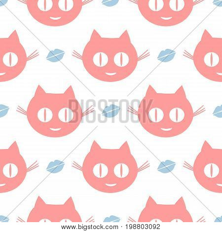 Funny seamless pattern. Repeated smiling cat's heads and human lips. Pink white blue color. Vector illustration.