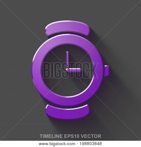 Flat metallic timeline 3D icon. Purple Glossy Metal Hand Watch icon with transparent shadow on Gray background. EPS 10, vector illustration.