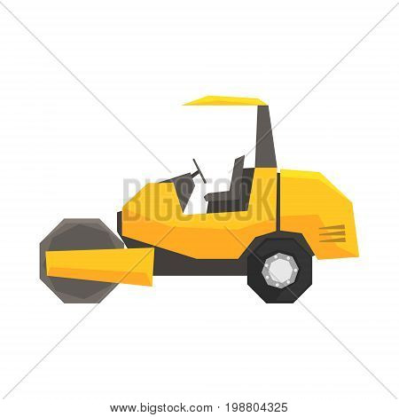 Big yellow road roller, heavy construction machine vector Illustration on a white background