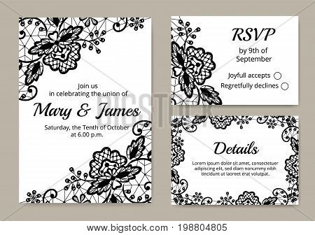 Template of wedding cards with lace border on white background