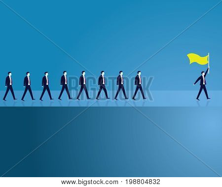 Leadership Concept. Manager Leading Team of Workers Going Forward