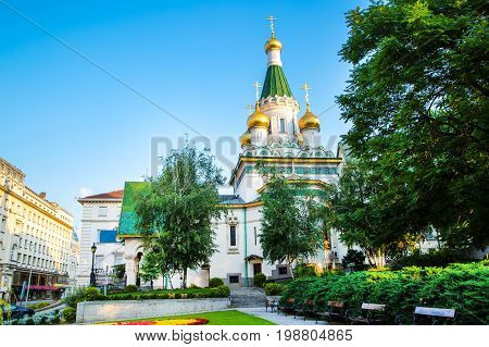 The Russian St. Nicholas church in the centre of Sofia city, capital of Bulgaria