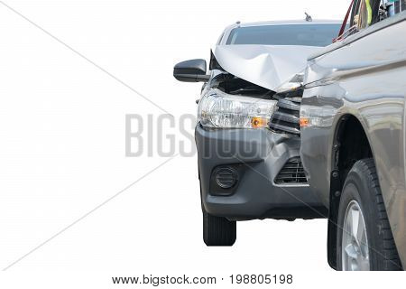 Car crash from accident on the road in a city car pickup wait insurance white background, ps clipping path and selection path