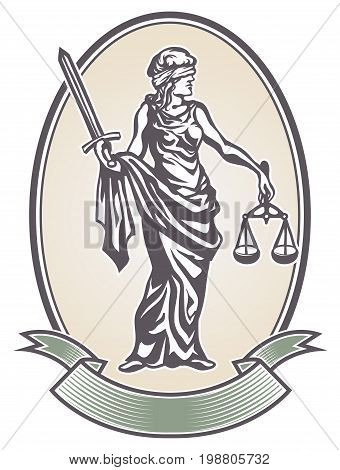 Femida with with a sword and scales, lady justice, goddess and symbol of justice