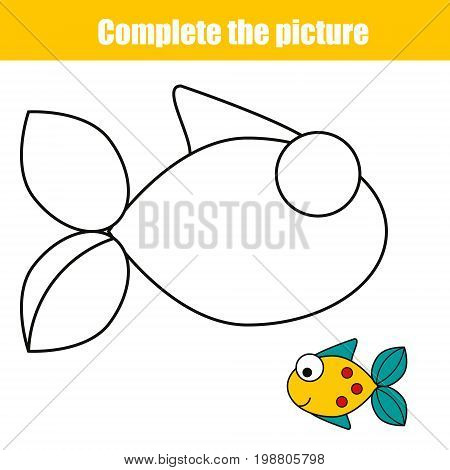 Complete the picture children educational game, coloring page. Kids activity sheet with fish. Printable drawing worksheet