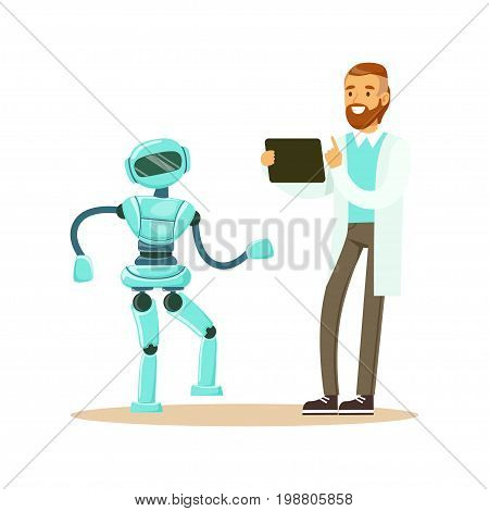 Young male engineer in white smock programming humanoid bipedal robot at his tablet, future technology concept vector Illustration on a white background