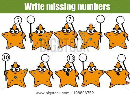 Mathematics educational game for children. Complete the row, write missing numbers with funny starfish characters