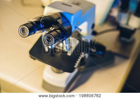 Optical Microscope In A Scientific Laboratory
