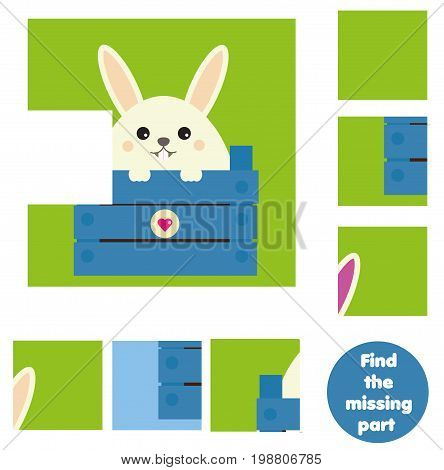 Children educational game. Find the missing piece and complete the picture. Puzzle kids activity. animals theme.