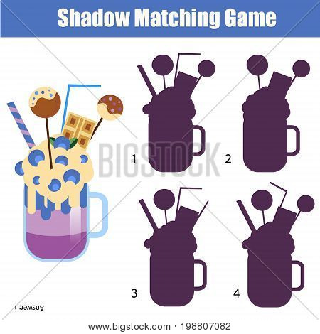 Shadow matching game for children. For kids preschool and school age. Worksheet, find the correct silhouette for milk shake cocktail