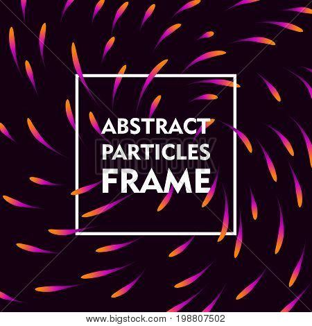 Abstract particles frame gradient. Square frame on a blue background with a bright swirling gradient for illustrators and designers. Abstract square frame gradient vector illustration