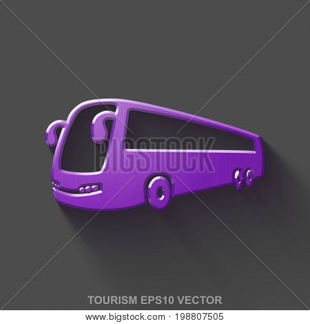 Flat metallic vacation 3D icon. Purple Glossy Metal Bus icon with transparent shadow on Gray background. EPS 10, vector illustration.