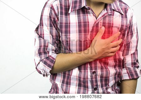 construction worker has suffering from chest pain severe heart ache attack on white background concept as healtcare disease and save