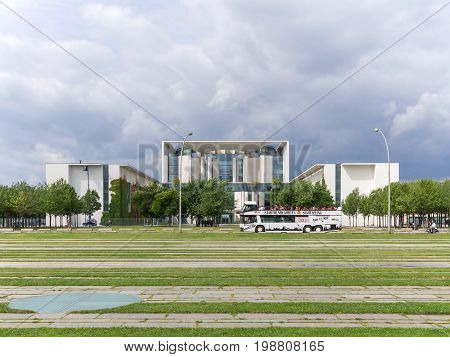BERLIN GERMANY - AUGUST 4 2017: Chancellor's Office Building With A Cloudy Sky In Berlin