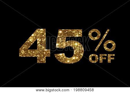The vector luxury golden glitter forty five percent discount word text on black background