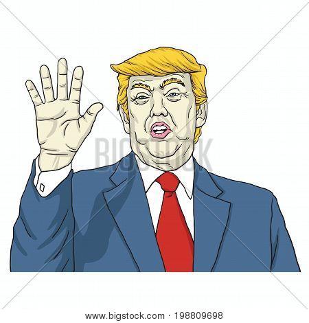 Donal Trump Says, Talk to My Hand. Cartoon Vector Illustration. August 8, 2017
