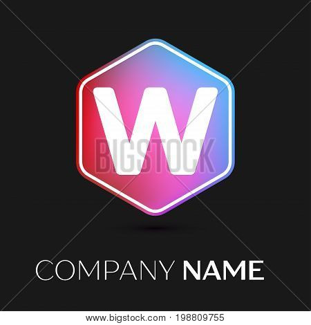 Realistic Letter W vector logo symbol in the colorful hexagonal on black background. Vector template for your design