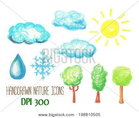 Nature and weather icons by pastel. Cloud sun tree snowflake and water drop handdrawn illustration. Environment nursery clipart. Sky atmosphere weather. Child drawing style 1nature logo. Water conditions