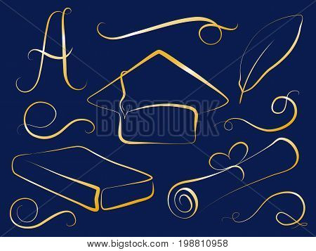 Golden graduation cap and education element. Graduation day vector clipart. Student cap diploma book feather grade A. Festive graduation icons. Education logo template. Golden graduation day signs