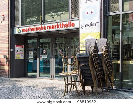 BERLIN GERMANY - JULY 9 2017: Chairs In Front of Marheineke Markthalle Market In Berlin-Kreuzberg
