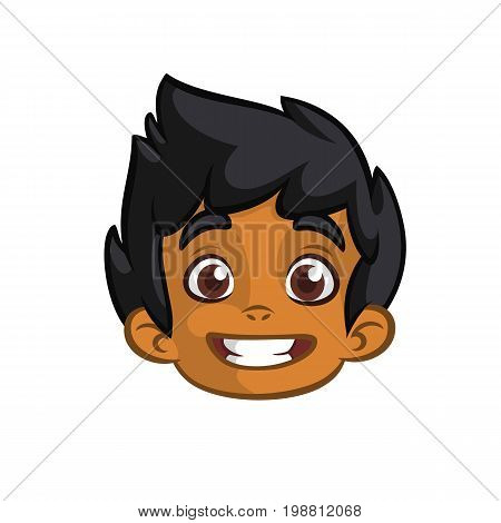 Indian cute small boy head cartoon. Indian afro-american boy smiling expression. Vector icon outlined