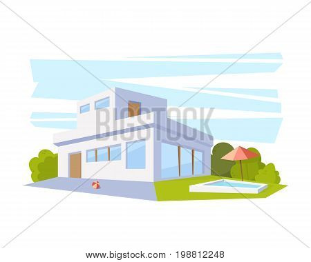 Flat Style Modern Architecture House with Pool and Green Lawn. Vector Drawing in The Perspective View. Isolated.