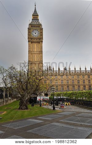 Big Ben in sunny day London. Big Ben and house of parliament on Sunny Day London UK