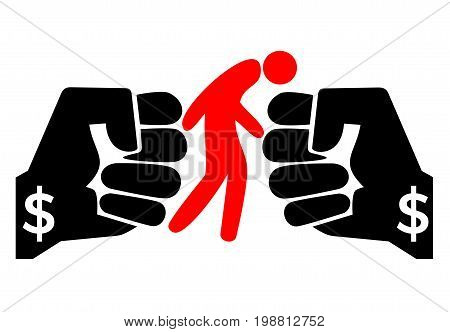 Person getting blackmailed. Concept sign for the financial extortion of people