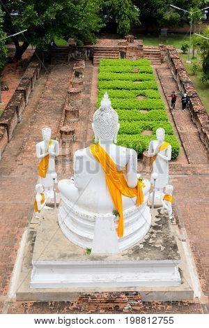White Buddha At Wat Yai Chaimongkol In Ayutthaya