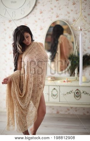 Beautiful Brunette Woman, Sexy Lush Model With Long Hair, In Pastel Cloth On Naked Body At Home Inte