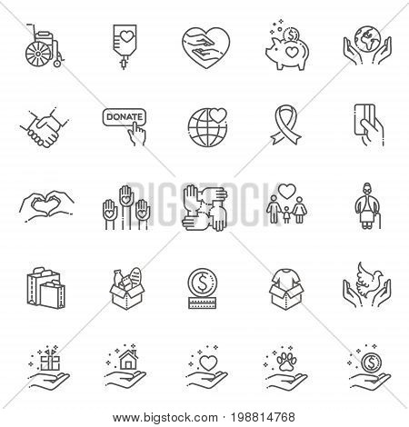 Charity, donation and volunteering icon set in thin line style