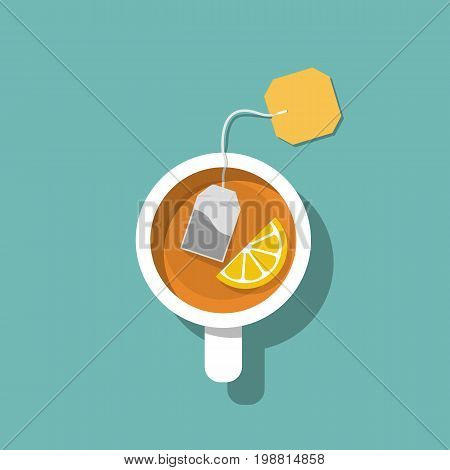 Cup of tea isolated on background. Brewed bag tea with lemon. Time relax. Vector illustration flat design. Hot drink in a white mug in a cold season.
