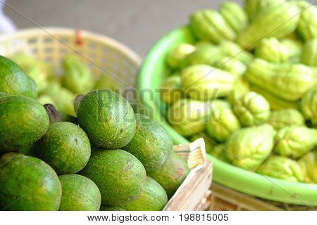 avocado and Sechium edule in the market in thailand