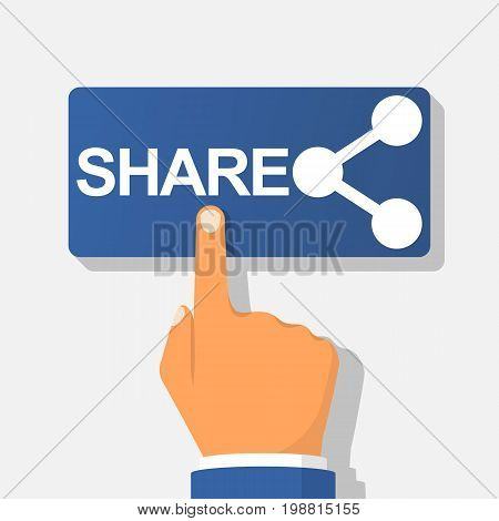 Sharing button. Hand pressing icon share. Vector illustration flat design. Isolated on white background. Gesture of finger pressing share button. Social media concept. Click connection.