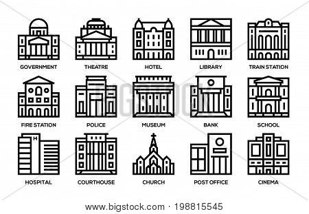 Government city municipal building vector icons set.
