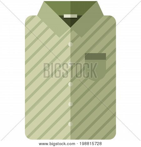Vector Icon of a modern olive shirt with dark stripes for men or woman in flat style without lines. Pixel perfect. Bussiness and office look. For shops and stores