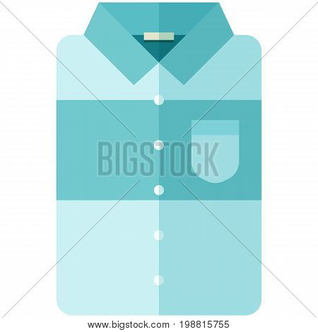Vector Icon of a modern blue shirt with big stripe for men or woman in flat style without lines. Pixel perfect. Bussiness and office look. For shops and stores