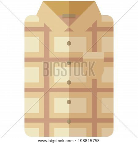 Vector Icon of a modern beige shirt with plaid for men or woman in flat style without lines. Pixel perfect. Bussiness and office look. For shops and stores