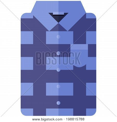 Vector Icon of a modern dark blue shirt with plaid for men or woman in flat style without lines. Pixel perfect. Bussiness and office look. For shops and stores