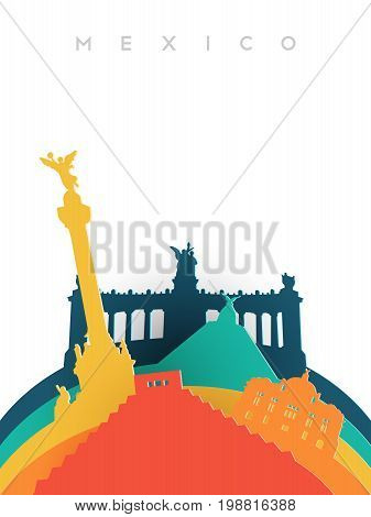Travel Mexico 3D Paper Cut World Landmarks
