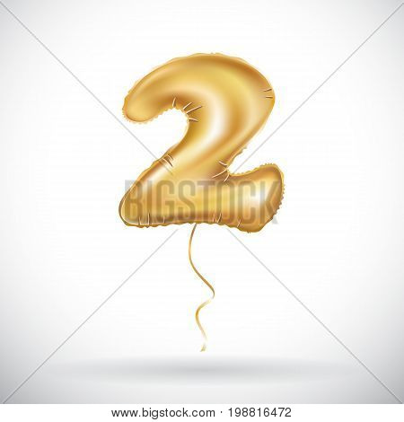 Vector Gold Balloon Font Part Of Number Two, 2. Couple. Twain