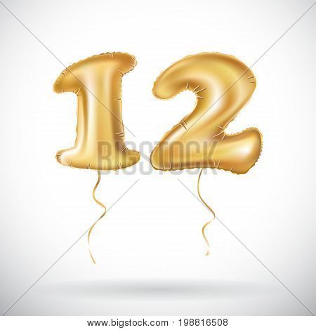 Vector 12 Anniversary Celebration With Brilliant Gold Balloons & Colorful Alive Confetti. Twelve 3D