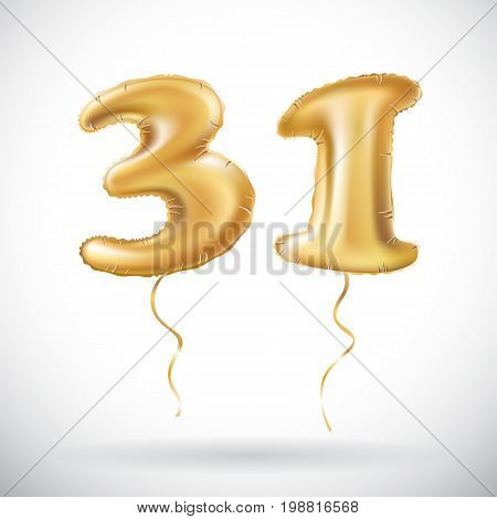 Vector Golden Number 31 Thirty One Of Inflatable Balloon Isolated On White Background