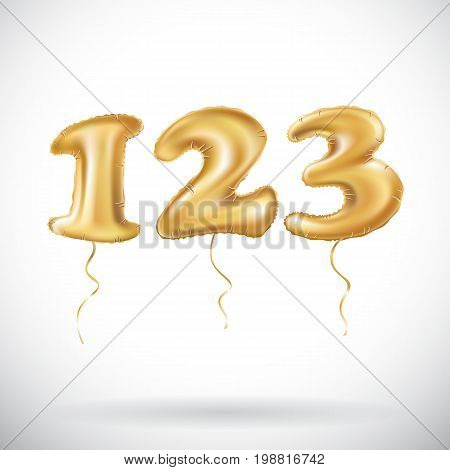 One Two Three Golden Numbers Made Of Inflatable Balloons Isolated On White Background. 123 Helium Ba