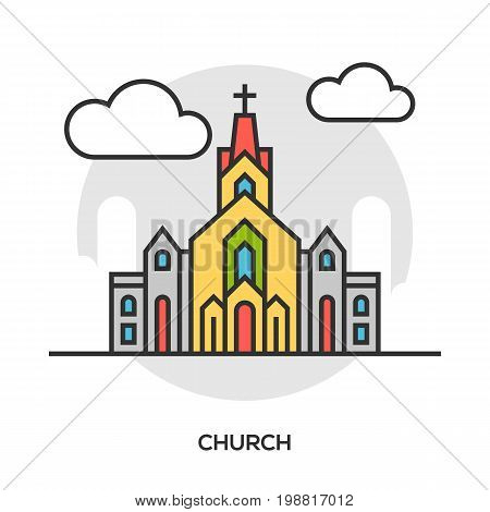 Vector church icon. Chapel building concept. Premium quality graphic design. Modern signs, outline symbols collection, simple thin line icons set for websites, web design, mobile app, infographics