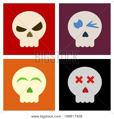 assembly of flat icons halloween emotion skull