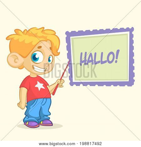 Cartoon young blond boy character in casual style clothes pointing whiteboard. Vector illustration of a small boy presenting