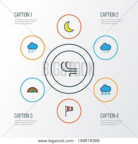 Climate Colorful Outline Icons Set. Collection Of Hail, Flag, Windy And Other Elements