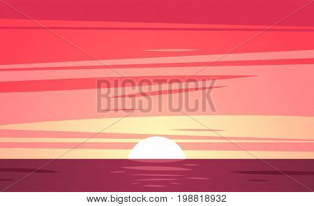Tropical sunset at sea and beach. Vector illustration